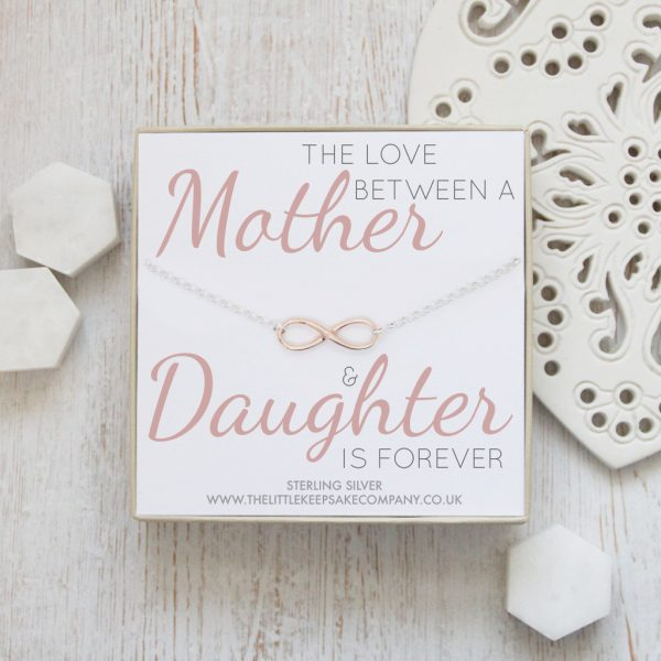 Sterling Silver & Rose Gold Vermeil Quote Necklace - 'The Love Between A Mother & Daughter Is Forever'