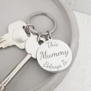 Stainless Steel Engraved Circle Keyring 'This Mummy Belongs To...'