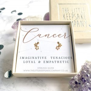 Yellow Gold Vermeil & CZ Zodiac Earrings - Cancer