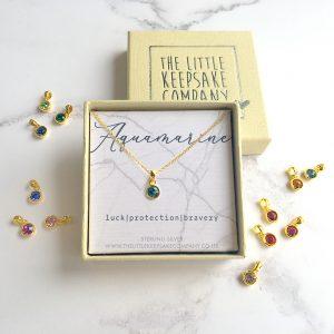 Yellow Gold Vermeil Birthstone Necklace - Aquamarine