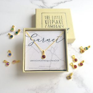 Yellow Gold Vermeil Birthstone Necklace - Garnet