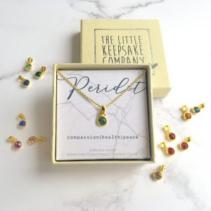 Yellow Gold Vermeil Birthstone Necklace - Peridot