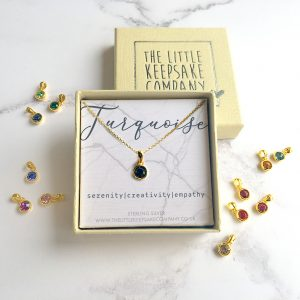 Yellow Gold Vermeil Birthstone Necklace - Turquoise
