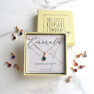 Rose Gold Vermeil Birthstone Necklace - Emerald