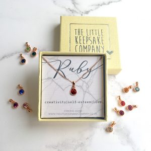 Rose Gold Vermeil Birthstone Necklace - Ruby