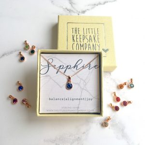 Rose Gold Vermeil Birthstone Necklace - Sapphire