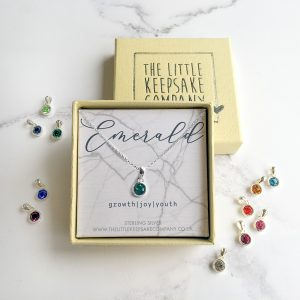 Sterling Silver Birthstone Necklace - Emerald