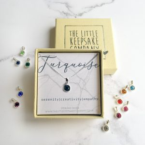 Sterling Silver Birthstone Necklace - Turquoise