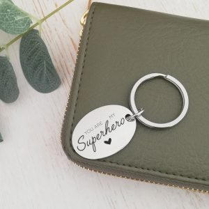 Stainless Steel Engraved Oval Keyring 'You Are My Superhero'