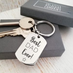 Stainless Steel Engraved Dogtag Keyring 'Best Dad Ever!'