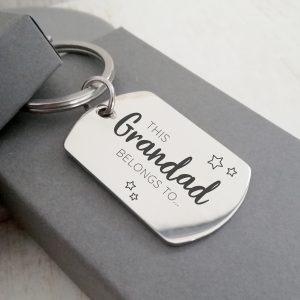 Stainless Steel Engraved Dogtag Keyring 'This Daddy Belongs To...'