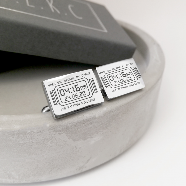 Stainless Steel Engraved Rectangle 'A Moment In Time' Cufflinks