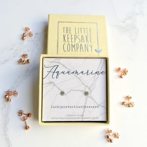 Rose Gold Vermeil Birthstone Earrings - Aquamarine