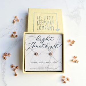 Rose Gold Vermeil Earrings Necklace - Light Amethyst