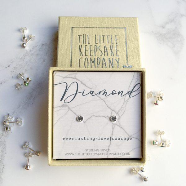 Sterling Silver Birthstone Earrings - Diamond