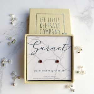 Sterling Silver Birthstone Earrings - Garnet