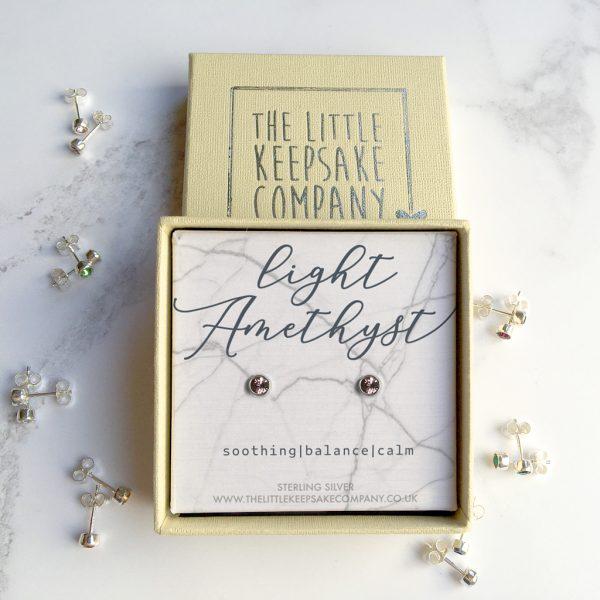 Sterling Silver Earrings Necklace - Light Amethyst