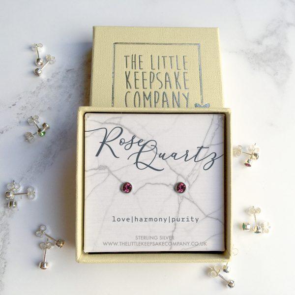 Sterling Silver Birthstone Earrings - Rose Quartz