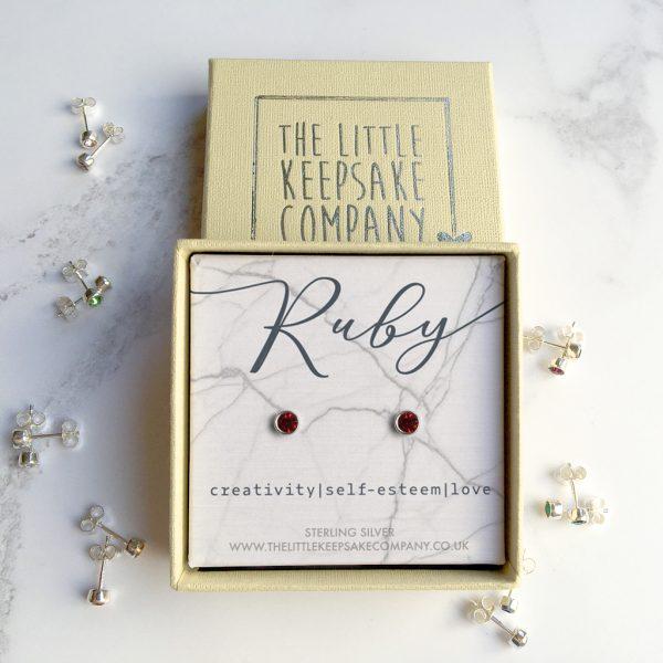 Sterling Silver Birthstone Earrings - Ruby
