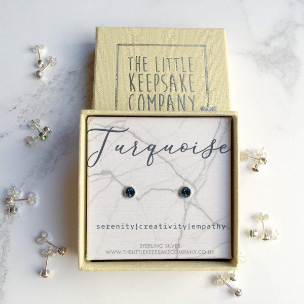 Sterling Silver Birthstone Earrings - Turquoise