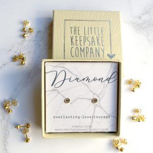 Yellow Gold Vermeil Birthstone Earrings - Diamond