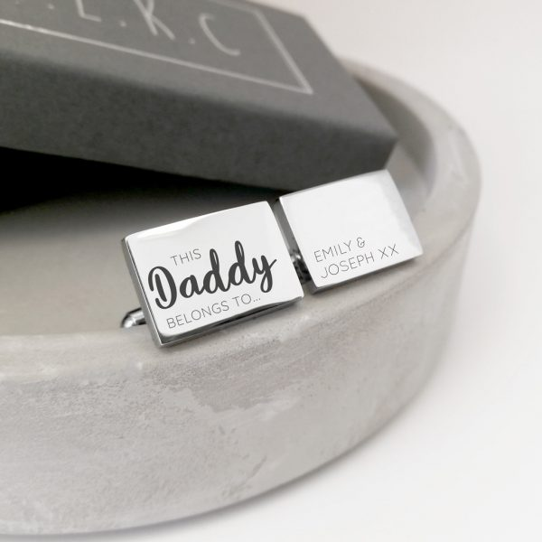 Stainless Steel Engraved Rectangle Cufflinks 'This Daddy Belongs To...'