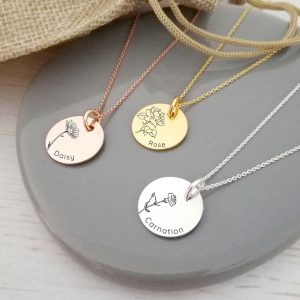 Create Your Own - Engraved Birth Flower Necklace