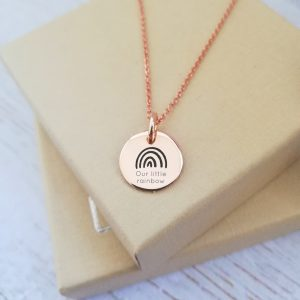 Rose Gold Vermeil Engraved Rainbow Necklace