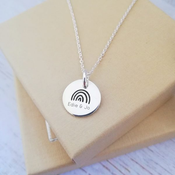 Sterling Silver Engraved Rainbow Necklace