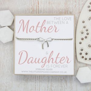 Sterling Silver Bow Bracelet - 'The Love Between a Mother & Daughter is Forever'