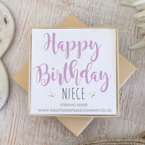 Sterling Silver Quote Earrings - 'Happy Birthday Niece'
