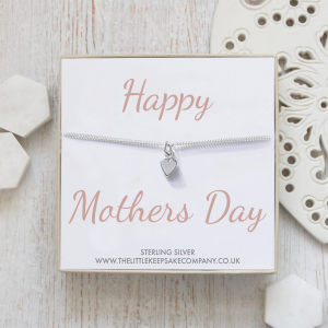 Sterling Silver Curb Chain Heart Bracelet - 'Happy Mothers Day'