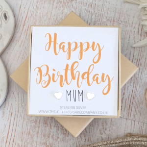 Sterling Silver Quote Earrings - 'Happy Birthday Mum'