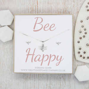 Sterling Silver Earring and Necklace Gift Set - 'Bee Happy'