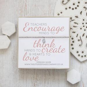 Sterling Silver Ball Slider Heart Bracelet - 'Teachers Encourage'