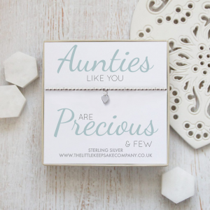 Sterling Silver Ball Slider Heart Bracelet - 'Aunties Like You Are Precious & Few'