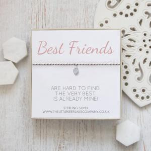 Sterling Silver Ball Slider Heart Bracelet - 'Best Friends Are Hard To Find'