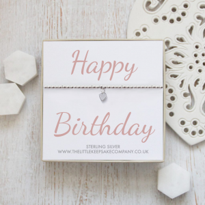 Sterling Silver Ball Slider Heart Bracelet - 'Happy Birthday'