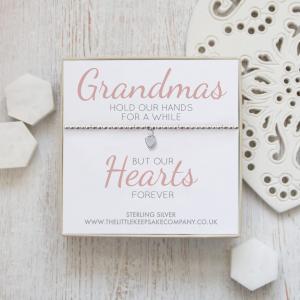 Sterling Silver Ball Slider Heart Bracelet - 'Grandmas Hold Our Hands'