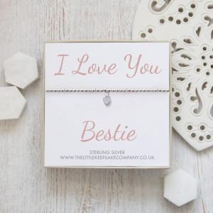 Sterling Silver Ball Slider Heart Bracelet - 'I Love You Bestie'