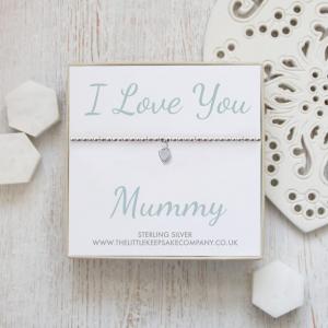 Sterling Silver Ball Slider Heart Bracelet - 'I Love You Mummy'
