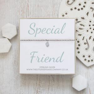 Sterling Silver Ball Slider Heart Bracelet - 'Special Friend'