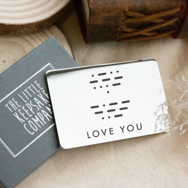 Stainless Steel Engraved Morse Code Wallet Card
