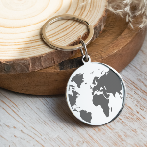 Stainless Steel Engraved Circle Keyring 'To Me You Are The World'