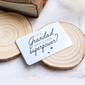 Stainless Steel Engraved Wallet Card 'What's Your Superpower?'