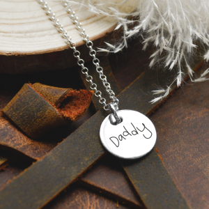 Sterling Silver Large Disc Pendant Necklace with Engraved Handwriting