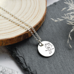 Sterling Silver Large Disc Pendant Necklace with Engraved Doodle