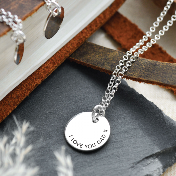 Sterling Silver Large Disc Pendant Necklace with Contoured Text