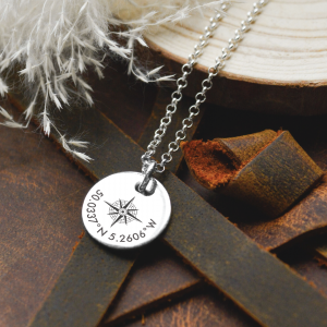Sterling Silver Large Disc Compass Necklace with Contoured Text