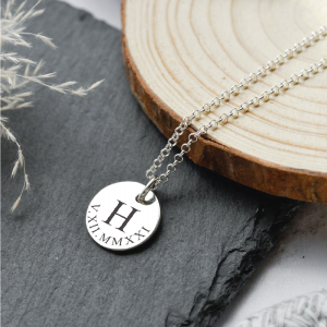 Sterling Silver Large Disc Pendant Necklace with Engraved Initial & Roman Numerals